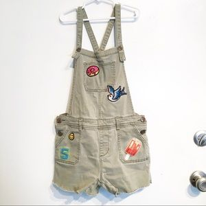 Cat & Jack Girls Embroidered Patch Overall Shorts